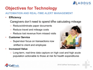 Technology & retention: provide value to caregivers, like eliminating the need to calculate mileage.