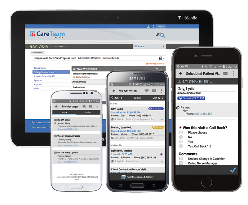 CellTrak Mobile Apps enable caregivers to easily share and access critical patient and visit information.