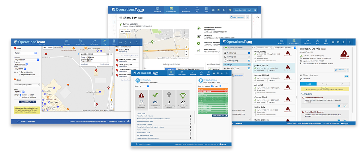 The CellTrak Operations Team Portal enables agencies to monitor caregivers and optimize the delivery of services.