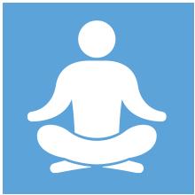 animated person meditating